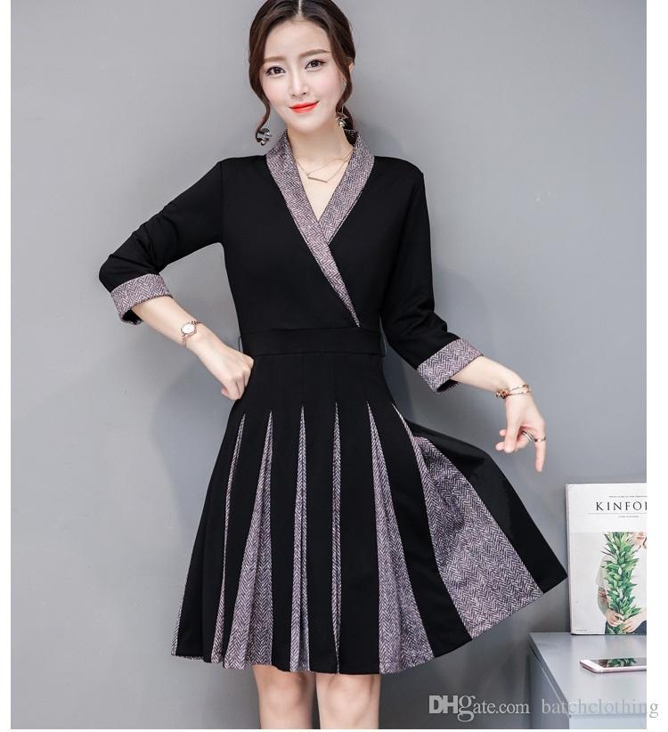Damen Buchstabierfarbe Weiß Großhandel Plus Schwarz Kleider IWDH9be2EY