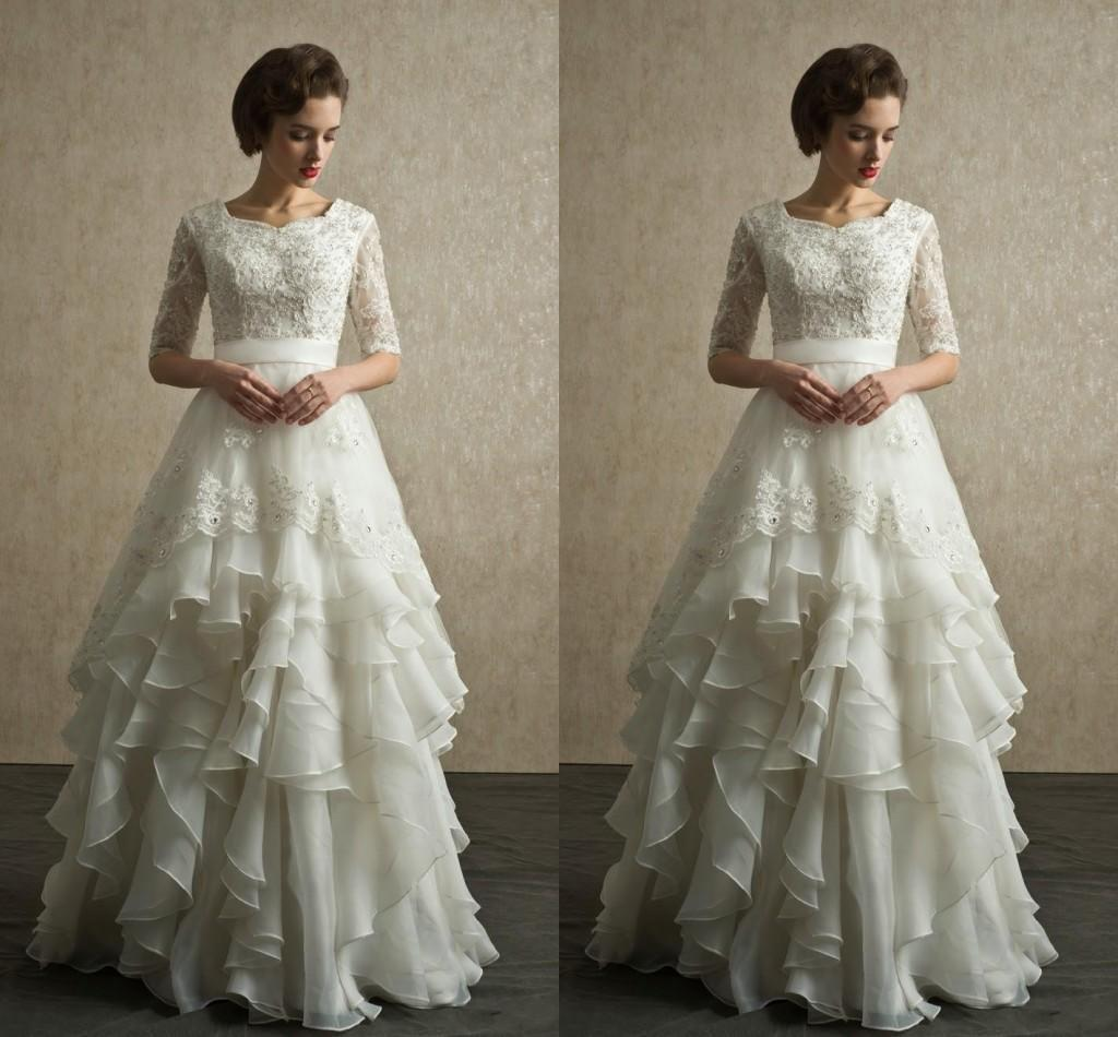modest wedding dresses with lace sleeves | Wedding