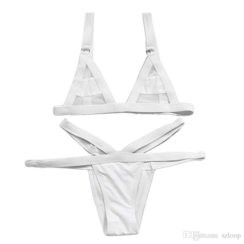 Women Fasion Sexy Mesh Bikini Set Hollow Out Tops Bandage Swimsuit Strappy Swimwear Sexy Mini String Thong 2506003