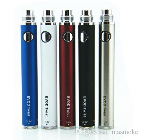 Batteria EVOD Twist sigaretta elettronica Tensione variabile 3.3-4.8V 650mah 900mah 1100mah Compatibile con tutte le serie eGo Kit CE4 CE5 MT3
