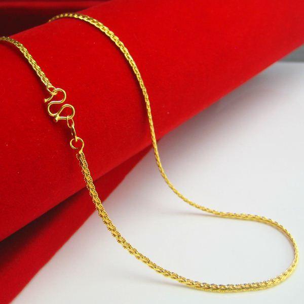 Half genuine gold gold necklace women's gold 18K gold imitation gold plated gold necklace men collar collar short fashion Hongkong