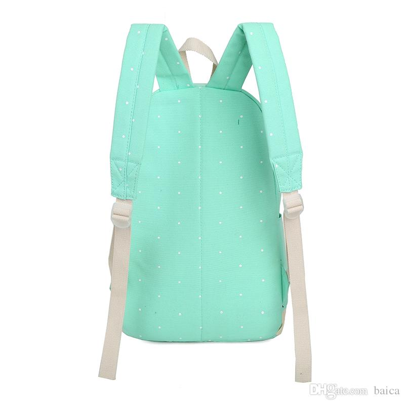 Canvas Women Backpack Big Capacity School Bags For Teenagers Dot Printing Backpacks For Girls