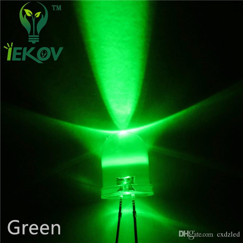 /bag 10MM High Quality Factory Price Round top Green LED Emitting Diodes Super bright LED Hot SALE Support Retail and Wholesale