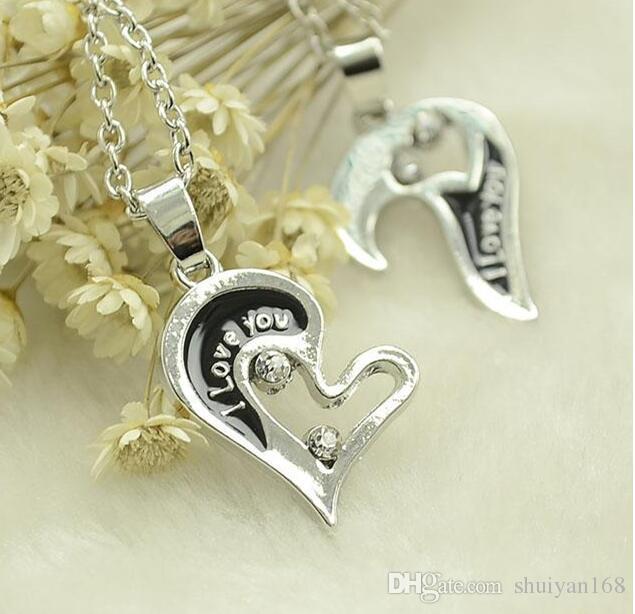 Partie coeur collier en argent puzzle collier coeur lettre d'amour plaqué argent pendentif pendentif cadeau pour ami cadeau de noël