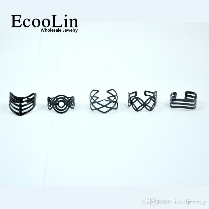 EcooLin Jewelry Vintage Black Zinc Alloy Gypsy Adjustable Finger Tattoo Rings Toe Ring For Women Men Bulk Jewelry Mix Style BK4010