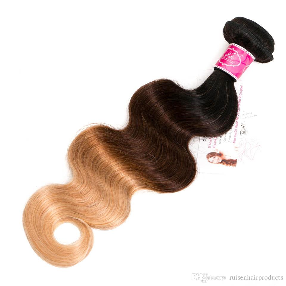 Best Ombre Human Hair Weave Bundles with Closure 3 Tone Blonde 1B/4/27 Ombre Brazilian Body Wave Human Hair Extensions with 4x4''Closure