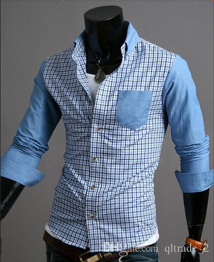 kariertes langärmeliges Kleid Hemd Neue Winter Herrenmode casual Shirts Jeans schlagen die Farbe
