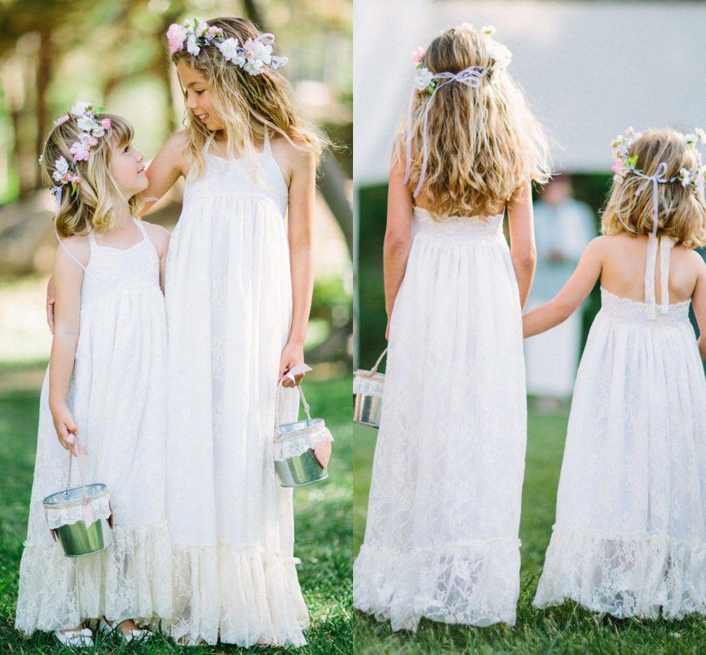 6 Hottest Wedding Ideas For 2014: White Lace Halter Flower Girl Dresses For Beach Wedding