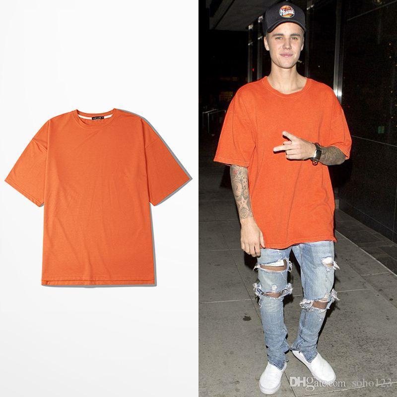 Newest Orange T Shirt Justin Bieber Half Sleeve T Shirts