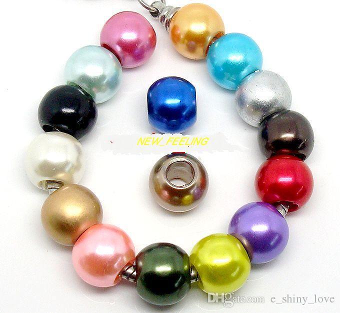 mischte PImitation Perlen-Charme für den Schmuck, der lose europäische große Loch-Acrylkorne passte europäisches Armband-niedriger Preis