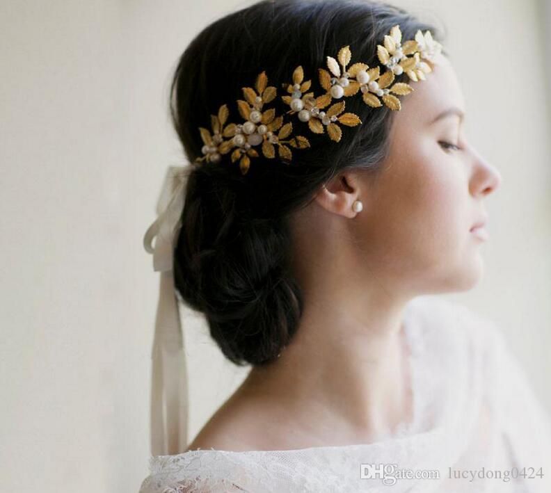 Fashion Cheap Wedding Bridal Bridesmaid Baroque Gold Leaves Pearl Crystal Rhinestone Hair Accessories Headpieces Headband Tiara Princess