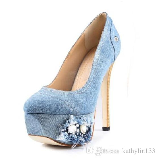 2018 big size Europe American fashion shoes women jeans cloth pumps rhinestone platform pumps super high heels customized shoes party shoes