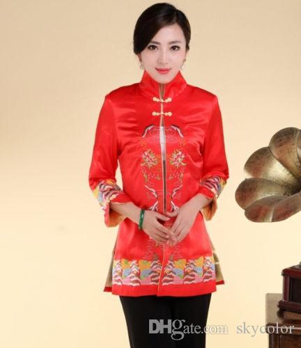Традиционный китайский женская вышивка Шелковая куртка пальто Cheongsam размер 6 8 10 12 14 16 18 красный белый черный