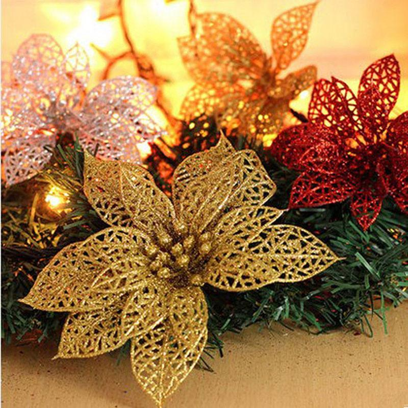 christmas flowers xmas tree decorations glitter hollow wedding party decor home valentines day display flower ornaments - Christmas Flower Decorations