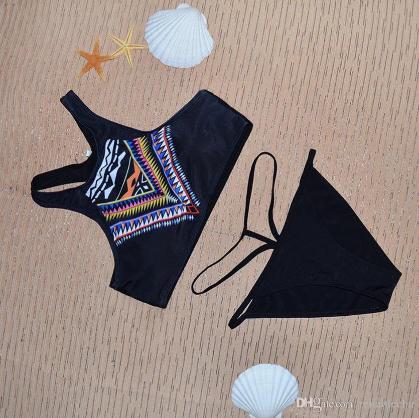 Swimwear Biquíni Mulheres Lady Feminino Sexy Moda Praia Underwear Designer Impresso Étnica Elegante Briefs Two-Piece Natação Terno Frete Grátis