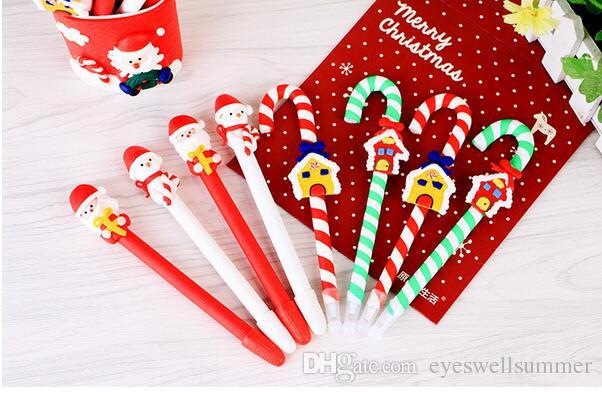 Cute Christmas Snowman Ceramic Ball Pen crutches Cartoon Christmas Santa Claus Ballpoint Office School Stationery