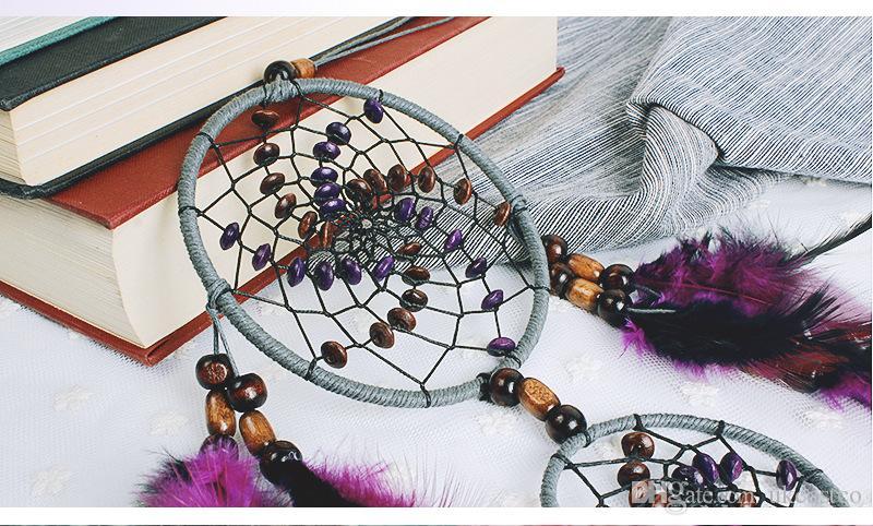 Romantico viola Dream Catcher Net con piume appese decorazione Dreamcatcher campanelli eolici auto camera da letto bambini appeso a parete D360L