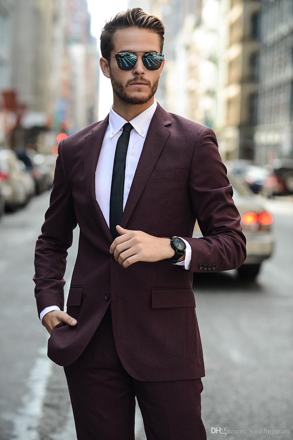Custom Made Burgundy Wedding Tuxedos Slim Fit Suits For Men ...