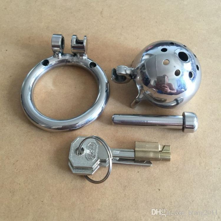 Nuovo design della serratura 25mm Lunghezza gabbia acciaio inossidabile Super piccoli dispositivi di castità maschile Gabbia corta corta con suoni uretrali gli uominiPeni