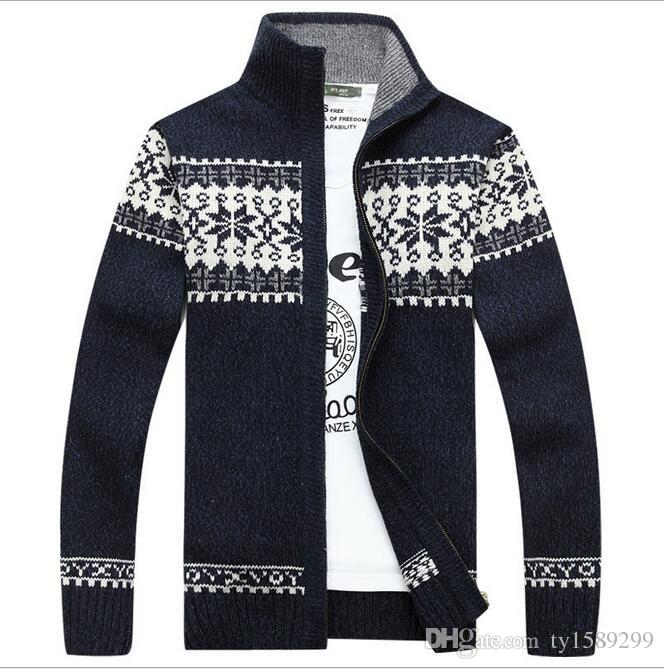 2017 New Fashion Mens Cardigan Sweater Stand Collar Men's Fleece Cashmere Winter Warm Thick Velvet Sweaters Clothing men/women coats