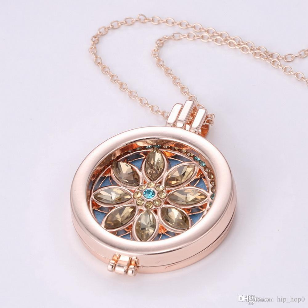 aromatherapy product my diffuser celtic crysal essential hollow rhinestone necklace pendant locket lockets jewelry material alloy oil store coin