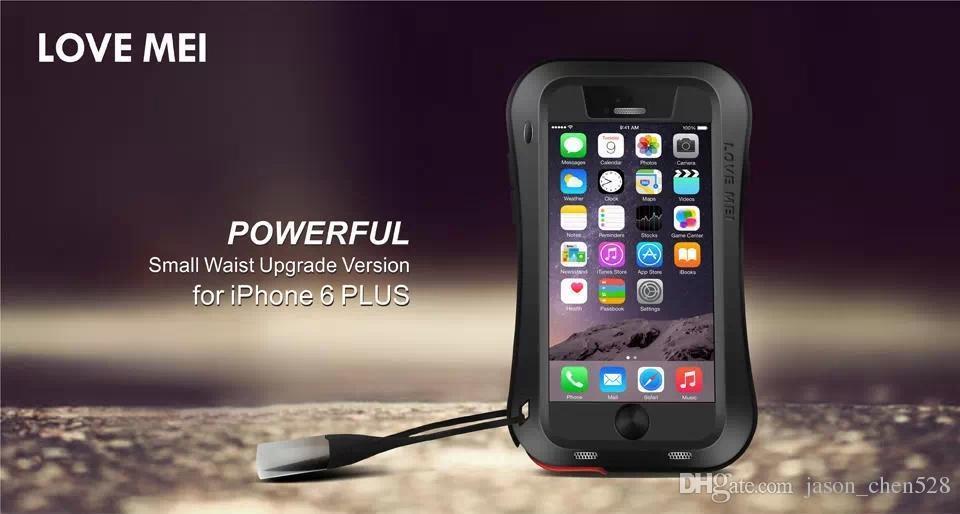 "Waterproof Shockproof Gorilla Glass Small Waist Aluminum Frame Bumper LOVE MEI Hard Case Cover For iphone6 4.7"" 5.5"" i7 samsung Skin"
