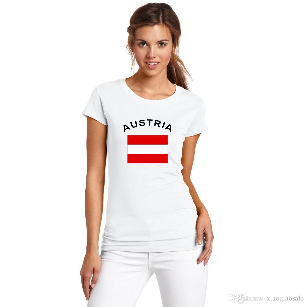 Новые поступления Австрия футбольные болельщики развеселить футболка Женская одежда 2016 Кубок Европы хлопок Спорт национальный флаг топы тис