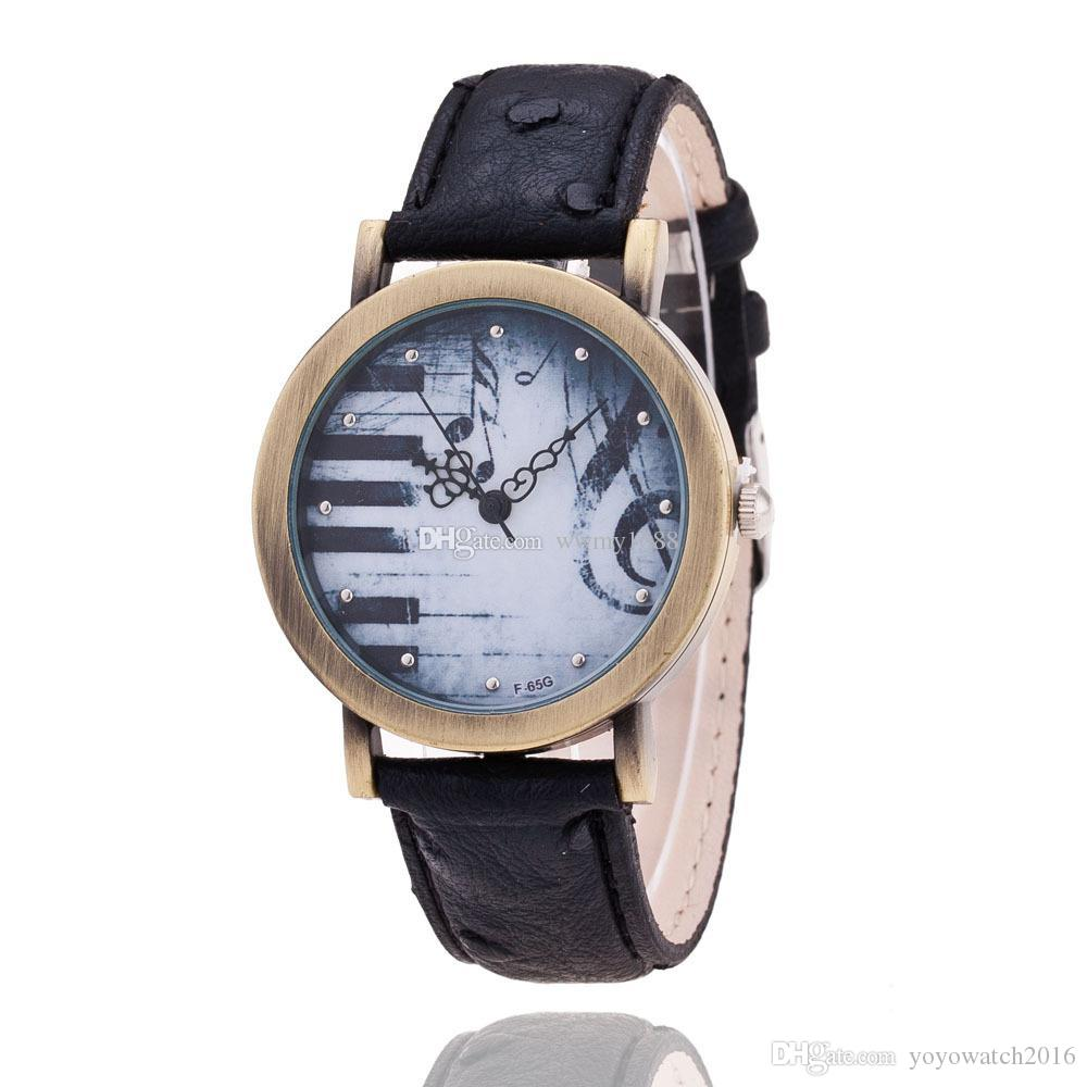 Fashion Piano Keys G Clef Leather Watch Ladies Reloj de caballero Gift para su reloj personalizado Reloj de músico