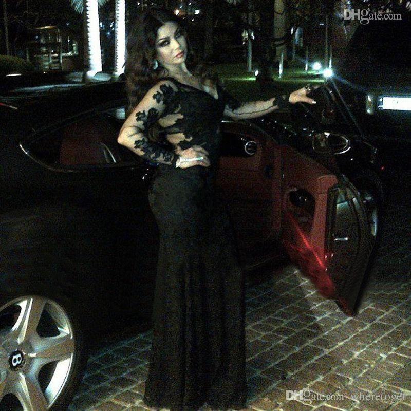 Maßgeschneiderte V-Ausschnitt mit langen Ärmeln Meerjungfrau Abendkleider bodenlangen schwarzen Spitze Appliques Zipper Back Celebrity Kleider 2019 Niedriger Rabatt