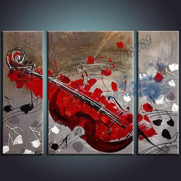 Wall Decor Paintings 2017 red hand painted modern art abstract guitar oil painting on