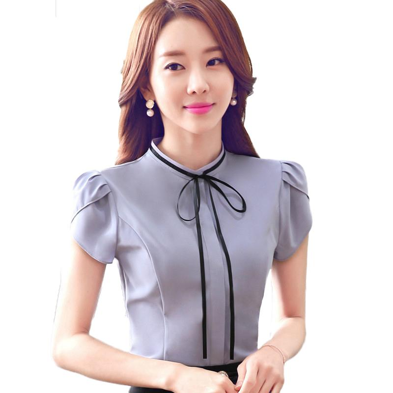 b0fec6bc973fda 2019 New Arrival Fashion Shirt Bow Tie Women Work Short Sleeve Shirt OL  Style Slim Blouses Basic Tops Ladies Formal Office Blouse From Moshuichun