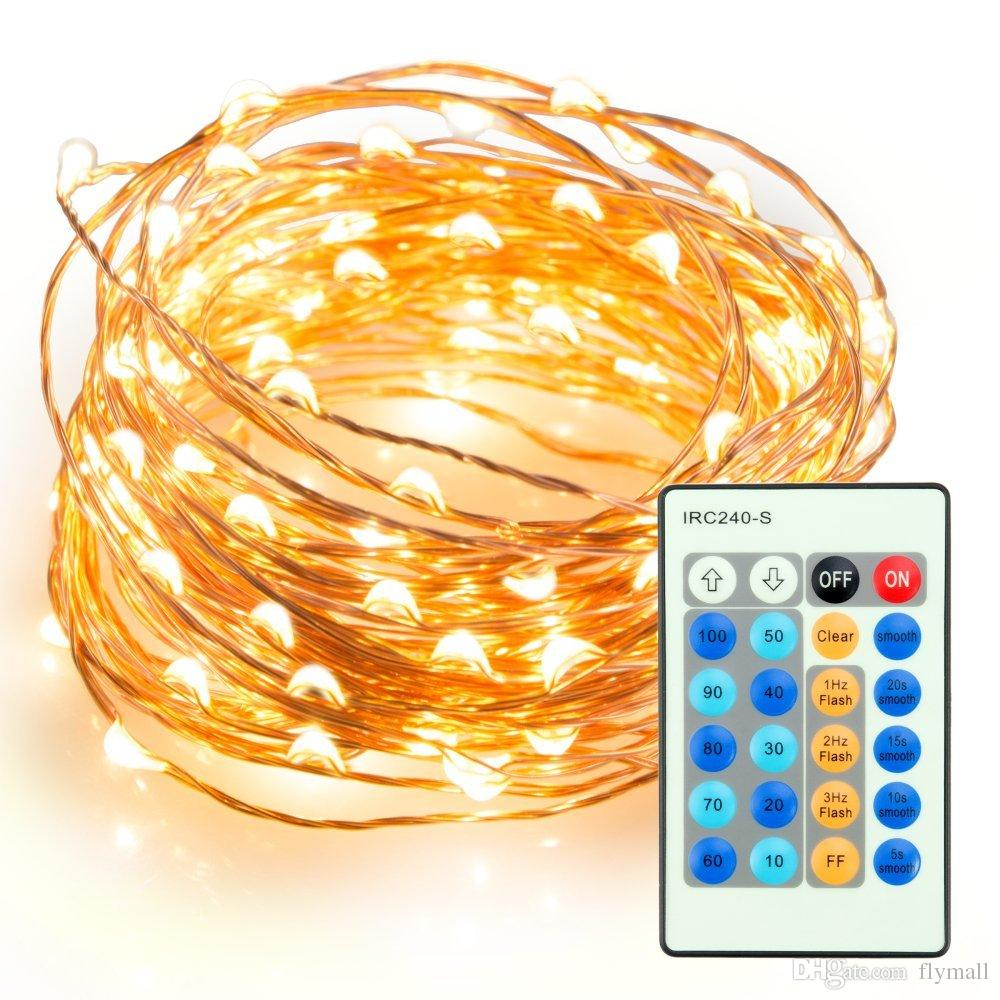 New 100 LEDs 33 ft Copper Wire String Light Christmas Party Fairy Light 10M Dimmable LED String Light with key remote 10 levels brightness