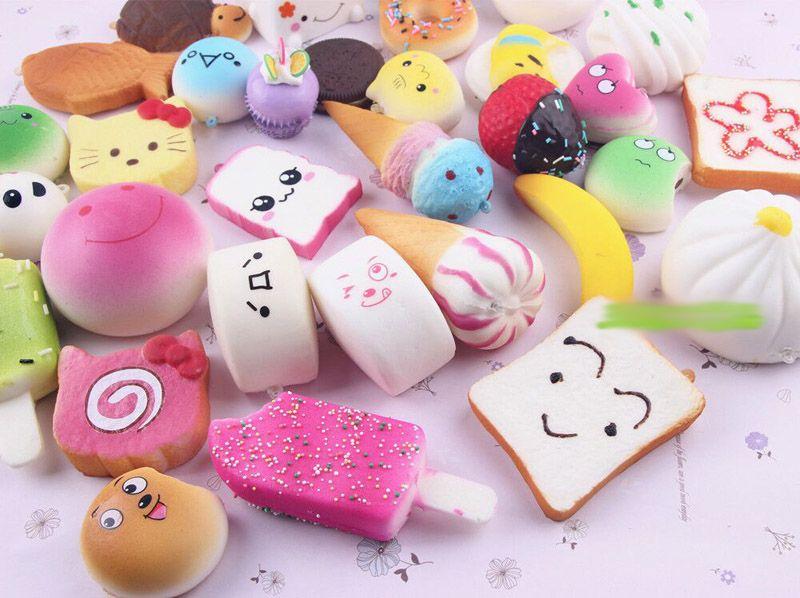 2017 10 pz / lotto squishies giocattolo lento aumento squishy arcobaleno dolciumi gelato torta pane pane fragola fascino telefono cinghie morbido frutta giocattoli