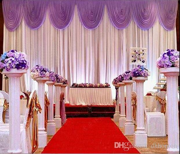 3 * 6 m Festa di Nozze Fase Celebrazione Sfondo Raso Tenda Drappo Pilastro Soffitto Sfondo decorazione Matrimonio Velo WT016
