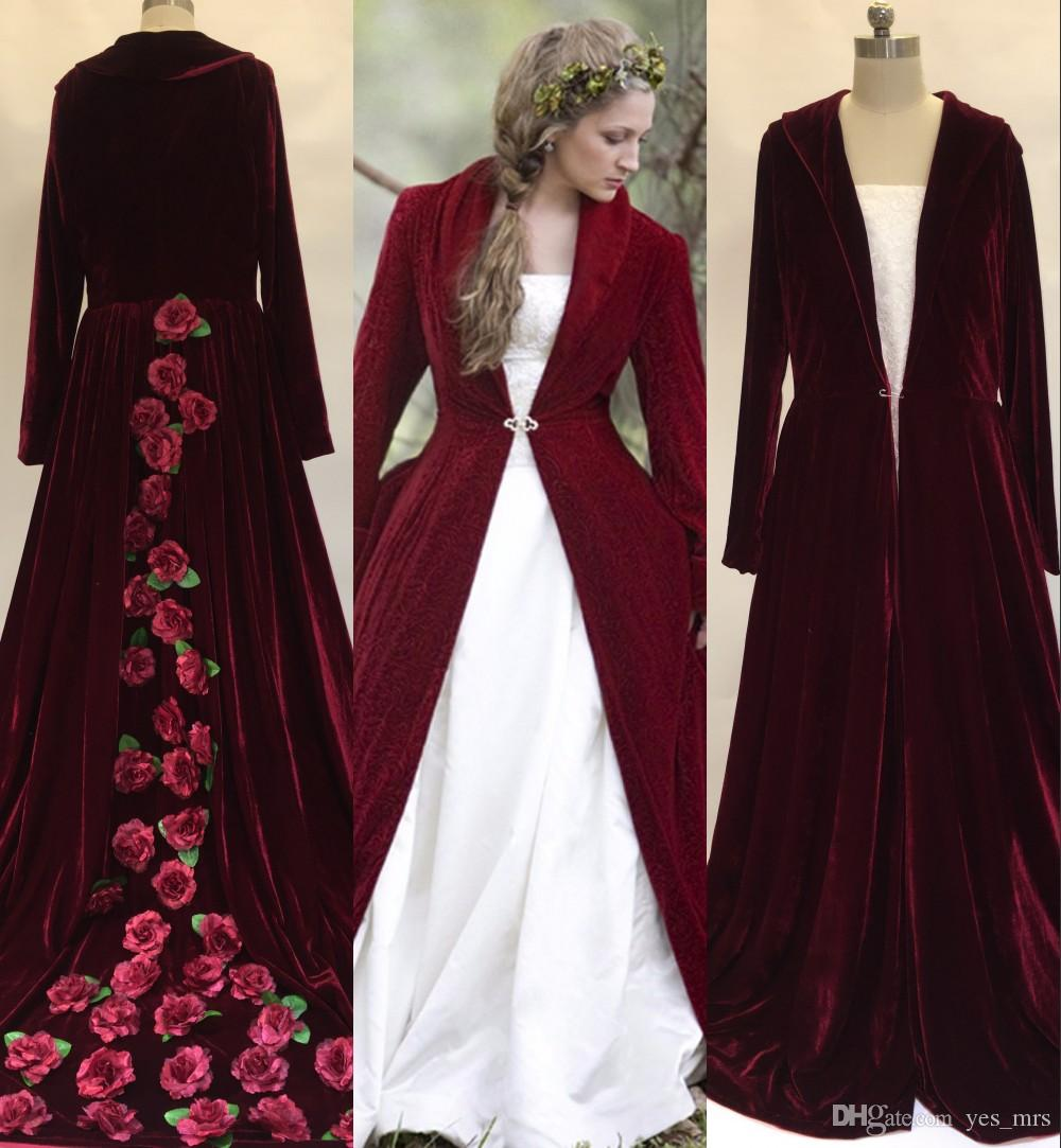 2017 Real Image Winter Christmas A Line Wedding Dresses Cloaks Burgundy Velvet Long Sleeves Flowers Plus Size Formal Bridal Gown Jacket Coat