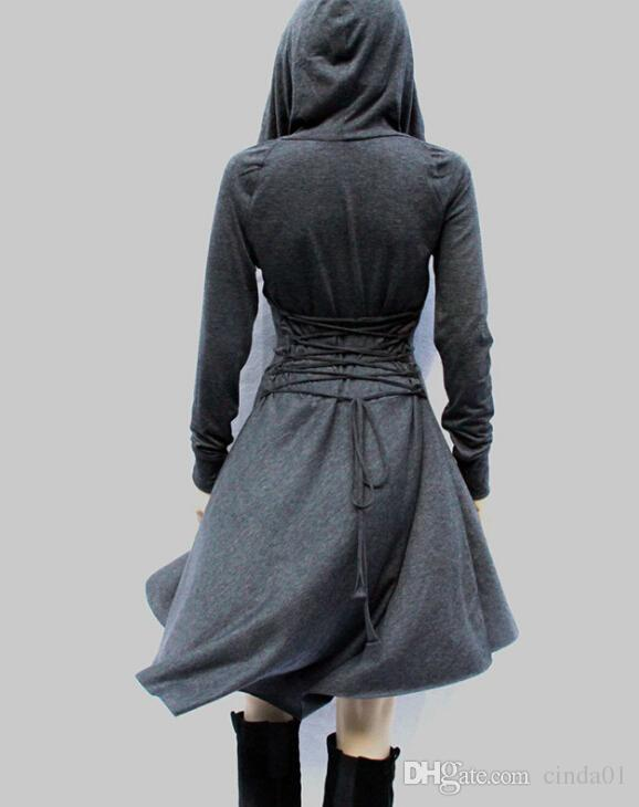 Trench Style Dress Women Autumn Spring Hooded Slim Bandage Dresses Cloak Dressing irregolare