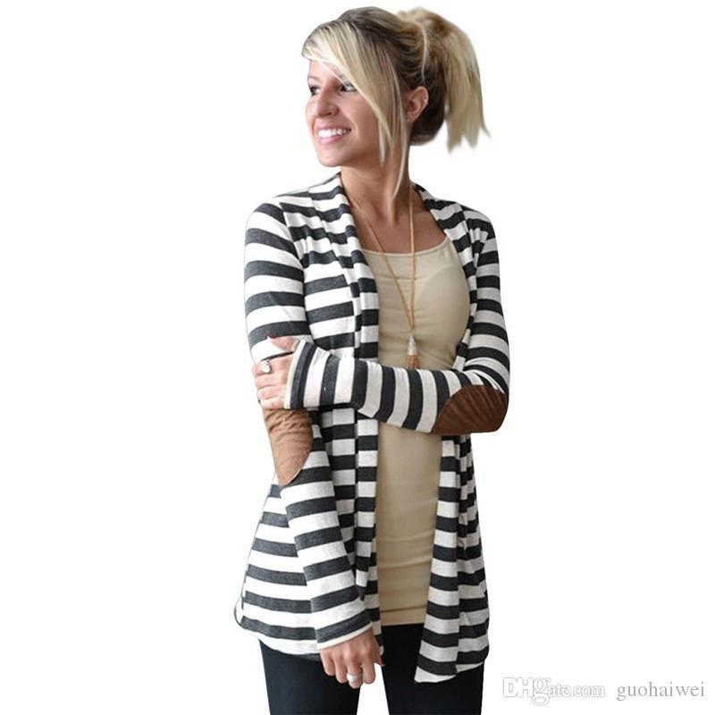2016 мода новое прибытие женская одежда леди полосатый кардиган Локоть латать искусственная кожа с длинным рукавом кардиганы повседневная отложным шеи куртка