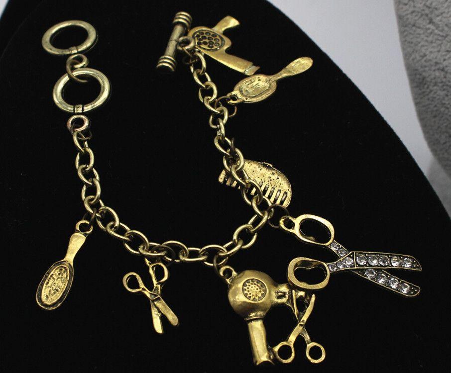 Reto Antique cobre Multi-colgante Pulseras Metal Scissor soplador Espejo Punk Pulseras Pulsera para mujer joyería de moda