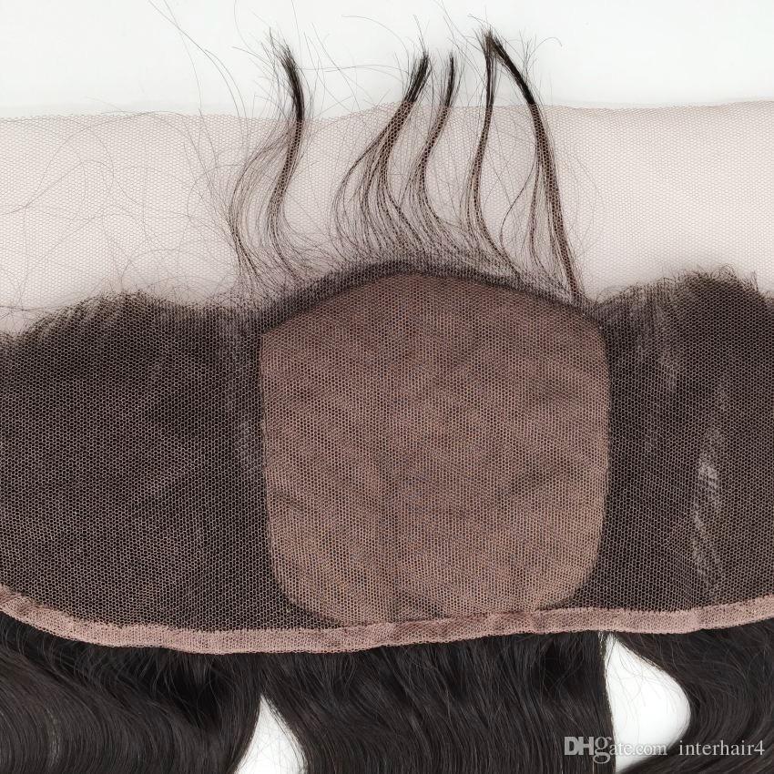 13x4 base de seda lace frontal com feixes de cabelo indiano virgem do corpo da onda do cabelo com meio livre 3 parte top de seda lace frontal fechamento