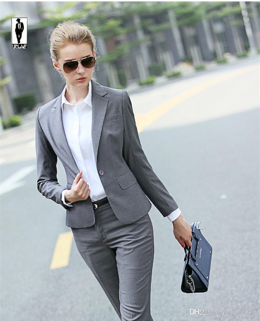 2016 UR 95 Silver Autumn Bussiness Formal Elegant Women Suit Set ...