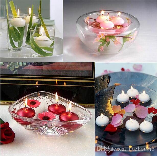 Boda romántica redonda flotante disco de la vela para el banquete de boda de eventos decoración de la mesa en casa velas envío gratis