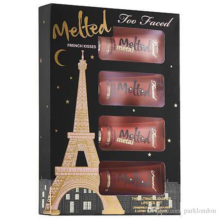 حار بيع الفرنسية القبلات Liquified طويل ارتداء أحمر الشفاه هدية مجموعة دي إتش إل الحرة الشحن 2019