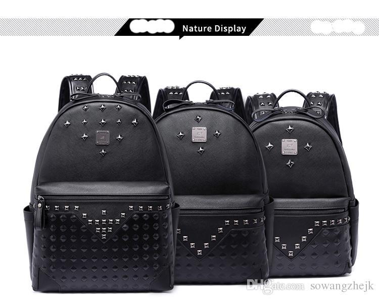 대용량 유명 디자이너 리벳 펑크 스타일의 고품질 남성 어깨 배낭 학교 학생 bookbag 브랜드 데이 팟 핫 세일 여행 가방