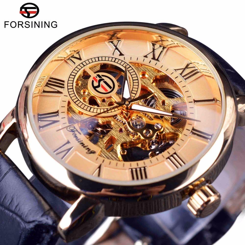 Forsining Roman Retro Series 3D Logo Designer Dial Mens Watches Top Brand  Luxury Mechanical Male Skeleton Wrist Watch Clock Men