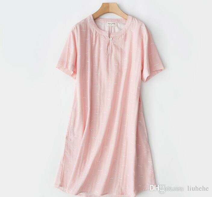 Agosto Ge cantó algodón de las mujeres de primavera y verano de manga corta falda de la falda de gasa pijama casa sencilla