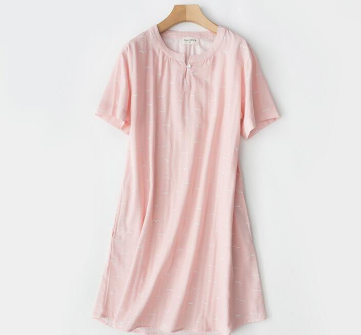 Août Ge a chanté printemps et d'été jupe à manches courtes en coton femmes en pyjama gaze jupe simple maison