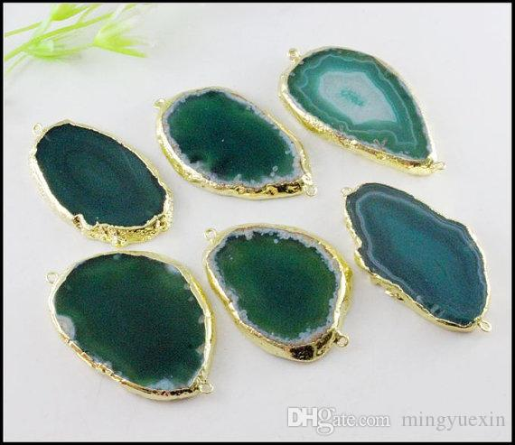 Nature Druzy Agate Connectors,Drusy Agate Gemstone Pendant ,Gold plated Druzy Crystal Pendant in Green for bracelet Jewelry findings