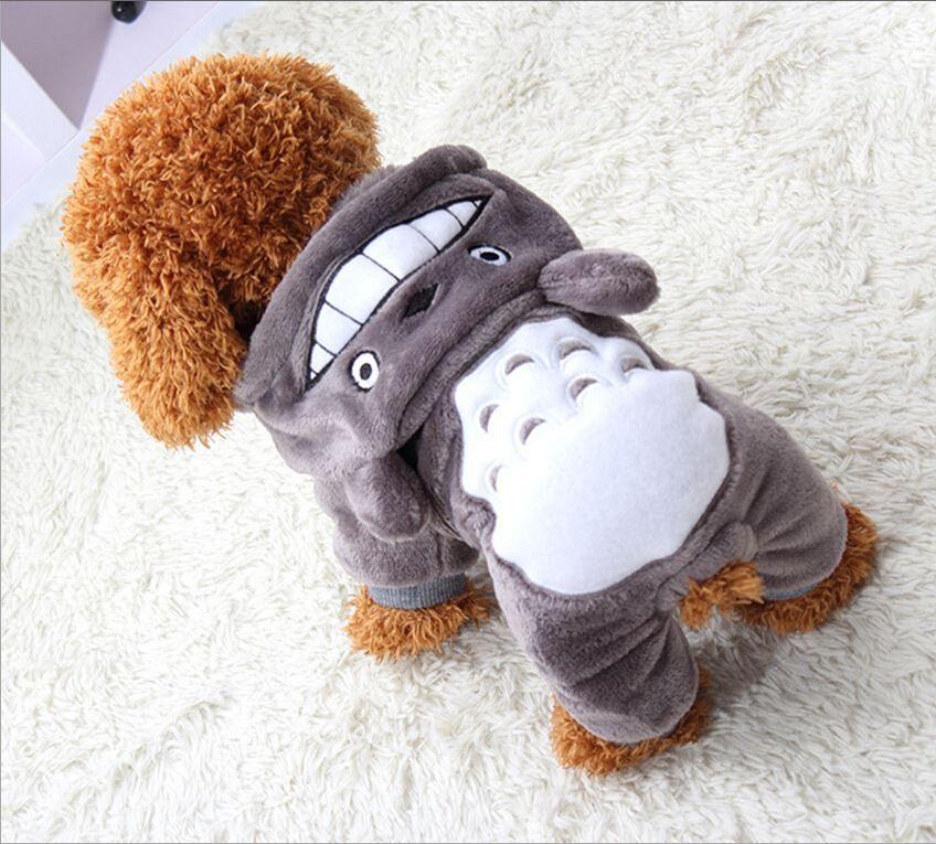 Kleiner Hund gedreht Totoro vier Fuß Baumwolle-aufgefüllte Kleidung Haustier-Teddybär-Hundehundemantel-Winter-Welpen-Kleidung L027