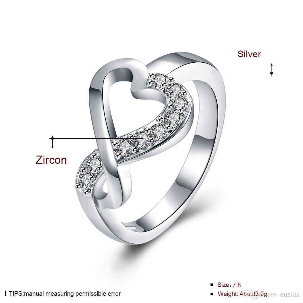New Fashion 925 Silver Ring Pretty Heart Zircon Wedding Finger Rings For Women Jewelry r832