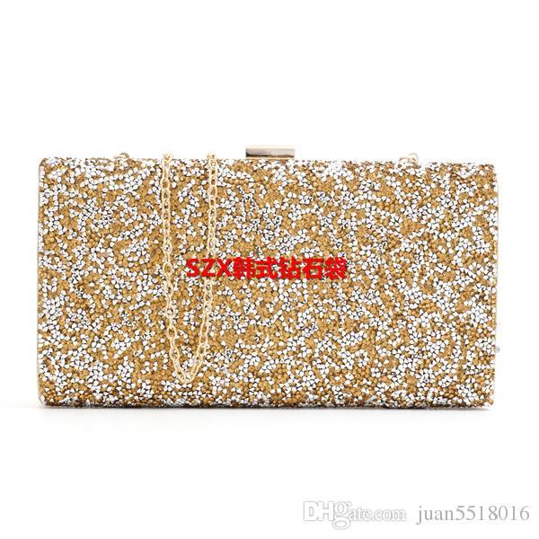 $ 19 Frau Abendtasche Frauen Diamant Strass Clutch Kristall Tag Kupplung Brieftasche Hochzeit Geldbörse Party Bankett Schwarz / Gold Silber